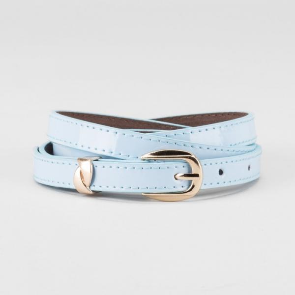 Ремень женский, ширина - 1,4 см, пряжка золото, 2 строчки, цвет голубой