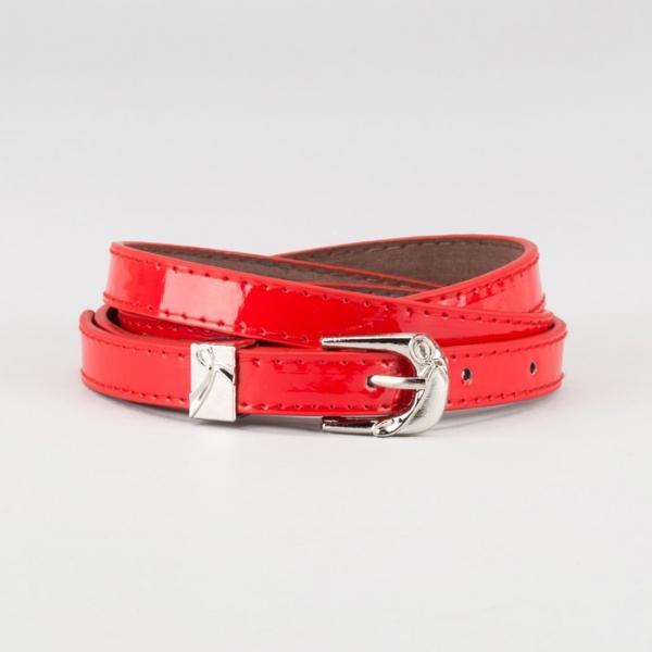 Ремень женский, ширина - 1,4 см, пряжка металл, 2 строчки, цвет красный