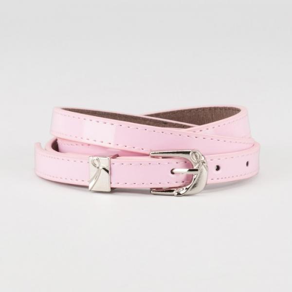 Ремень женский, ширина - 1,4 см, пряжка металл, 2 строчки, цвет розовый