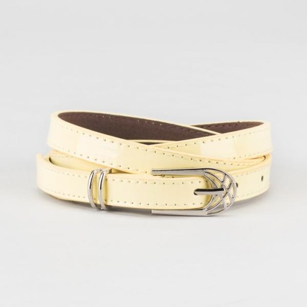 Ремень женский, ширина - 1,4 см, пряжка металл, 2 строчки, цвет жёлтый