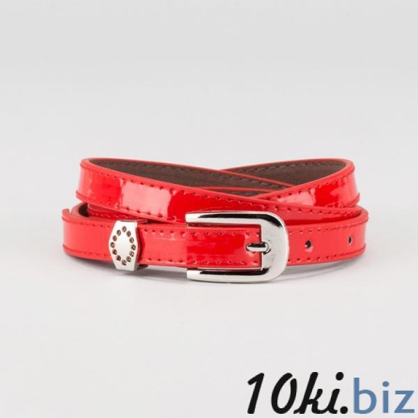 Ремень женский, ширина - 1,4 см, пряжка металл, 2 строчки, цвет красный купить в Беларуси - Женские ремни
