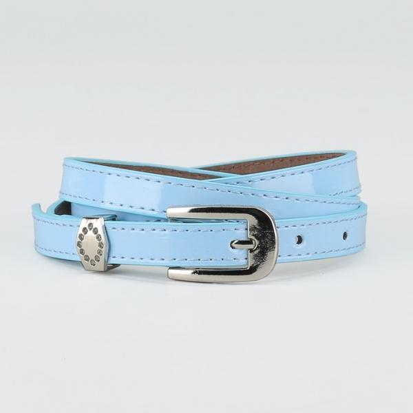 Ремень женский, ширина - 1,4 см, пряжка металл, 2 строчки, цвет голубой