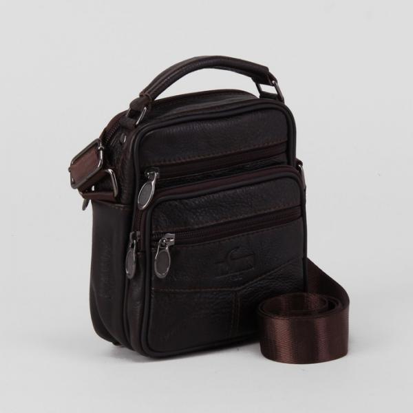 Сумка мужская, отдел на молнии, 4 наружных кармана, длинный ремень, цвет коричневый