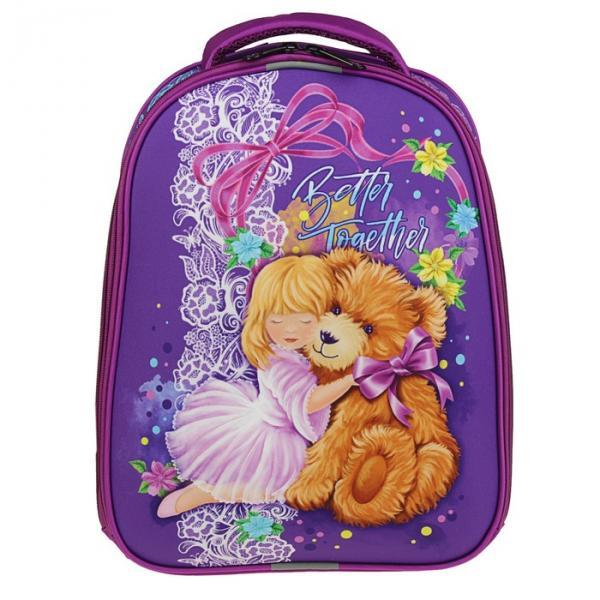 Рюкзак каркасный Stavia 38*30*16 для девочки, «Медведь», сиреневый