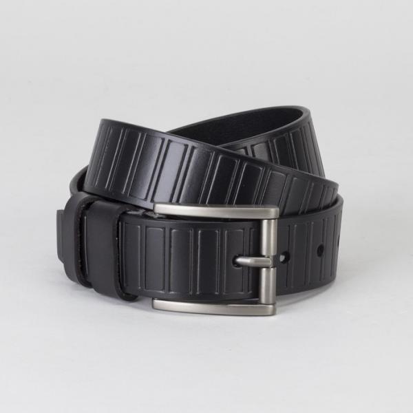 Ремень мужской, винт, пряжка тёмный металл, ширина - 4 см, цвет чёрный