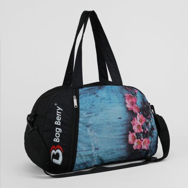 Сумка спортивная, отдел на молнии, наружный карман, регулируемый ремень, цвет голубой/чёрный
