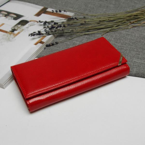 Кошелёк женский, 2 отдела рамка, отдел для кредиток, цвет красный