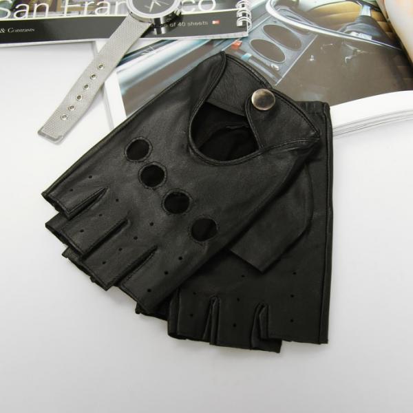 Перчатки автомобилиста, р-р 10.5, кожа ягнёнка, цвет чёрный