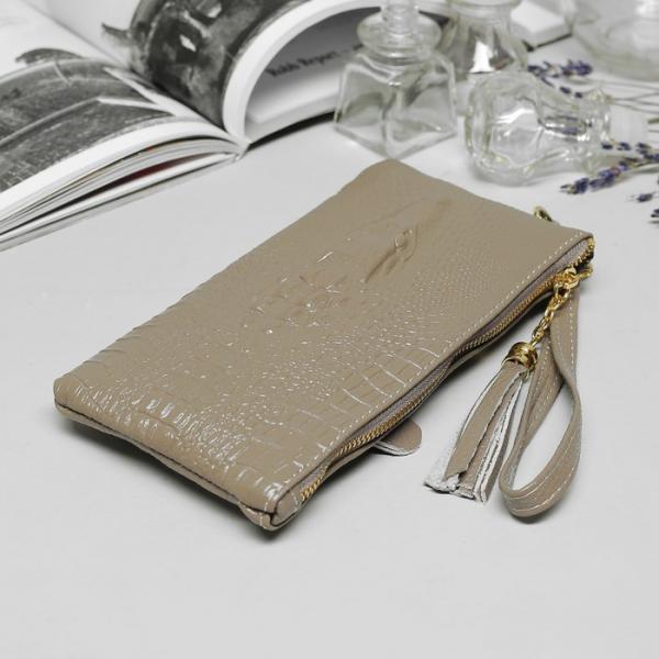 Клатч женский, 2 отдела, наружный карман, с ручкой, цвет серый