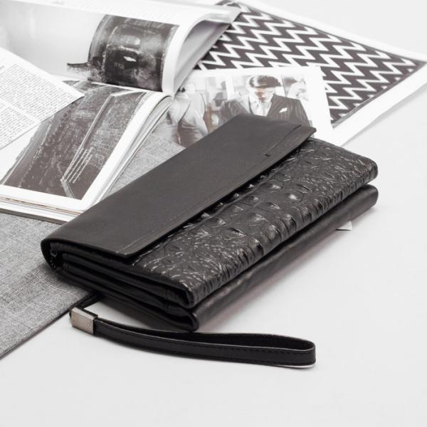 Клатч мужской, 3 отдела на молнии, с хлястиком, с ручкой, цвет чёрный