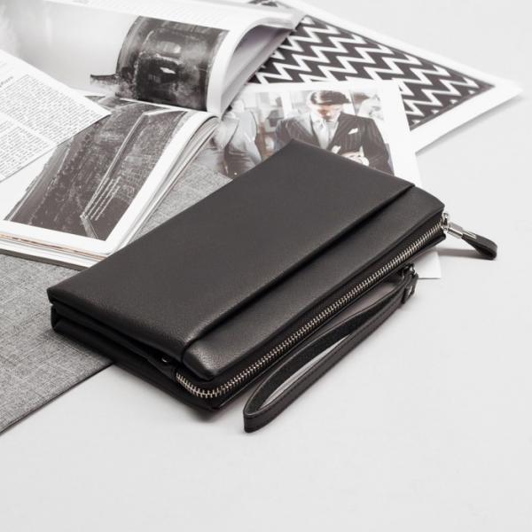 Клатч мужской, 5 отделов на молнии, наружный карман, с хлястиком, с ручкой, цвет чёрный