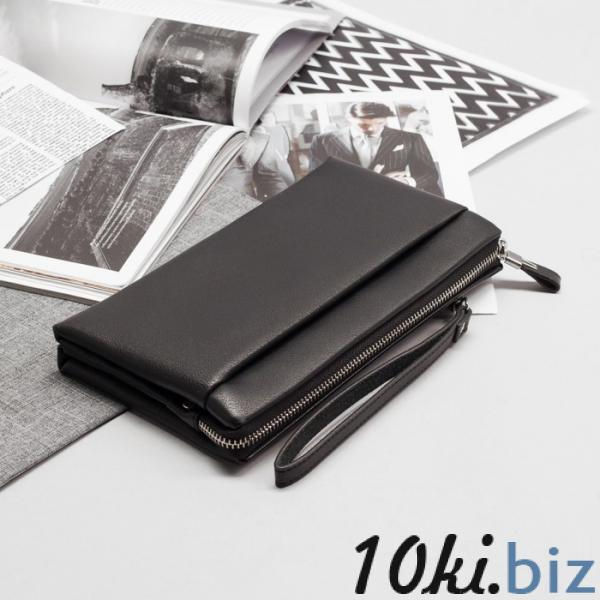 Клатч мужской, 5 отделов на молнии, наружный карман, с хлястиком, с ручкой, цвет чёрный купить в Гродно - Мужские сумки и барсетки