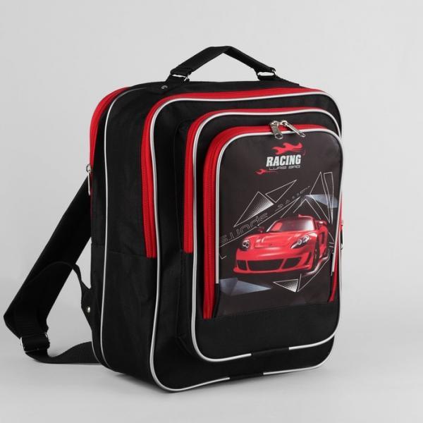 Рюкзак школ 139  27*12*33, 2 отдела на молнии, 2 н/кармана,  авто красное на черном