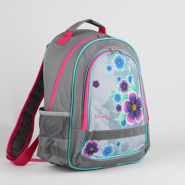 Рюкзак школьный, 2 отдела на молниях, 2 наружных кармана, цвет серый