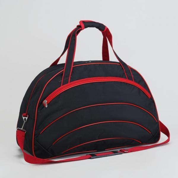 Сумка спортивная, отдел на молнии, 2 наружных кармана, длинный ремень, цвет чёрный/красный
