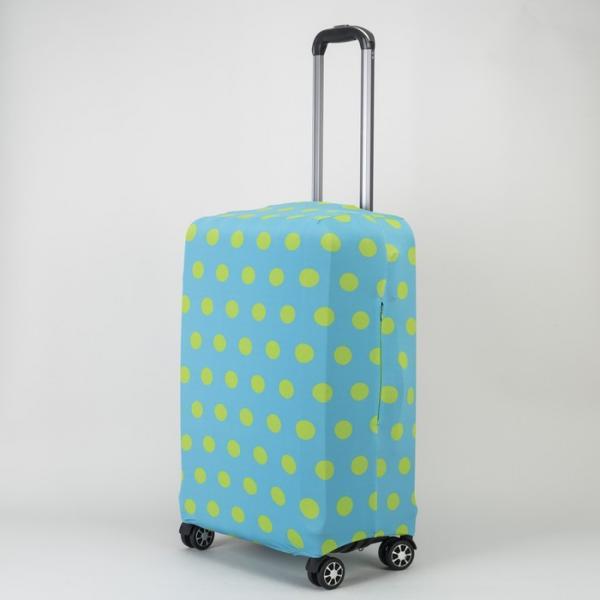 "Чехол для чемодана «Горох» 28"", цвет голубой/жёлтый"