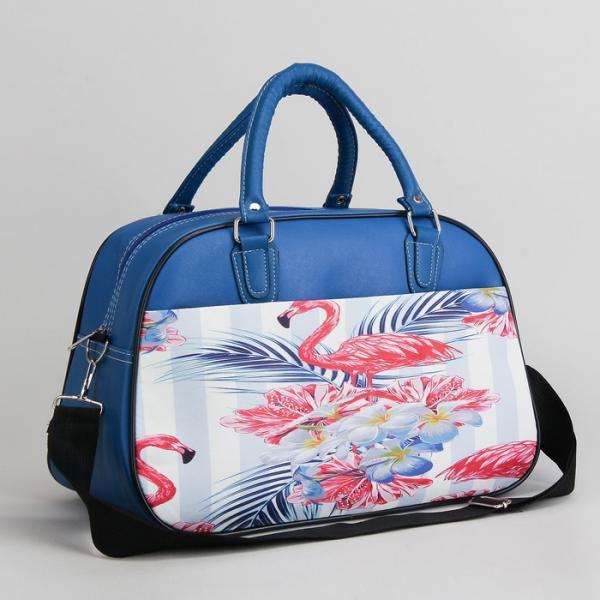 Сумка дорожная, отдел на молнии, наружный карман, длинный ремень, цвет синий/розовый