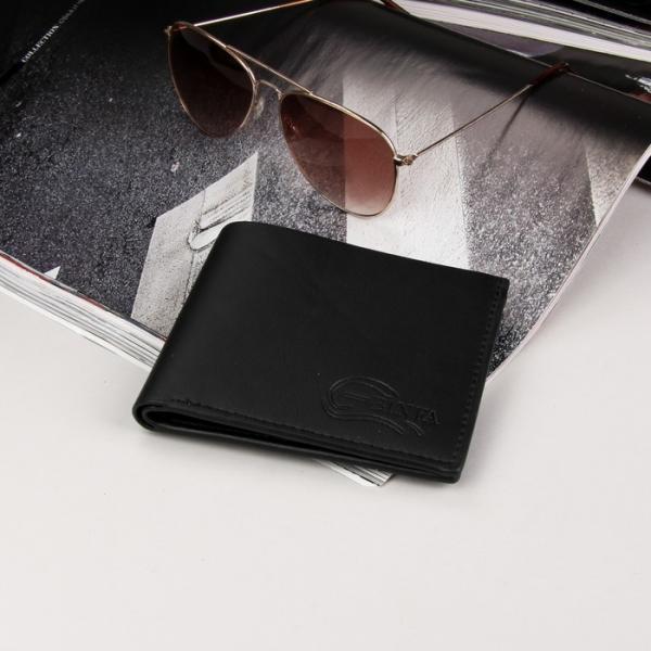 Кошелёк мужской, 2 отдела, для карт, для монет, для sim-карты, цвет чёрный