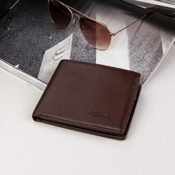 Кошелёк мужской, 2 отдела, для карт, для монет, цвет коричневый