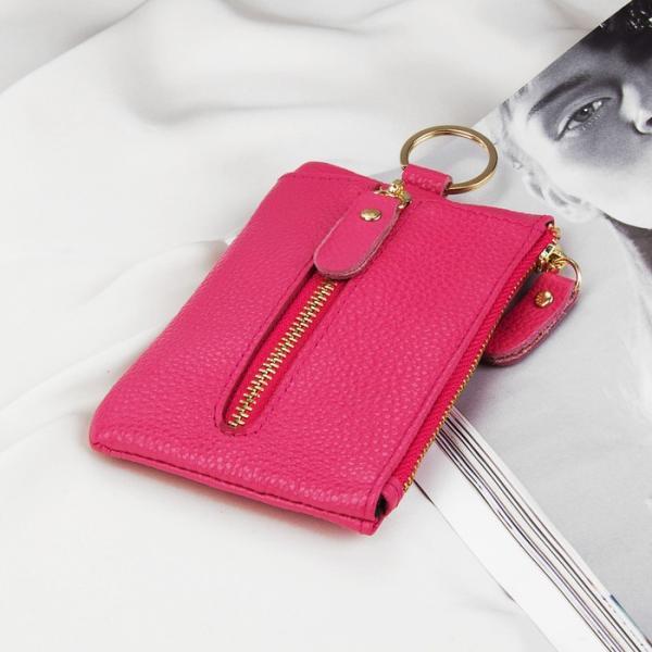 Ключница, отдел на молнии, 6 карабинов, кольцо, наружный карман, цвет малиновый