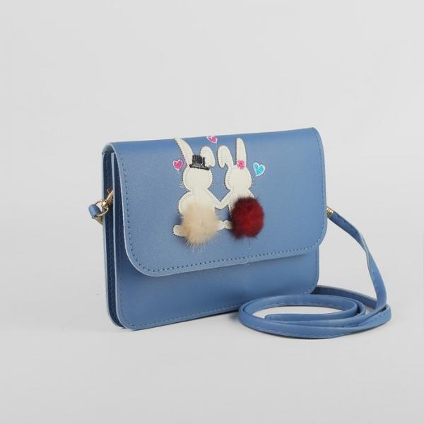 Сумка детская, 2 отдела на клапане, длинный ремень, цвет голубой
