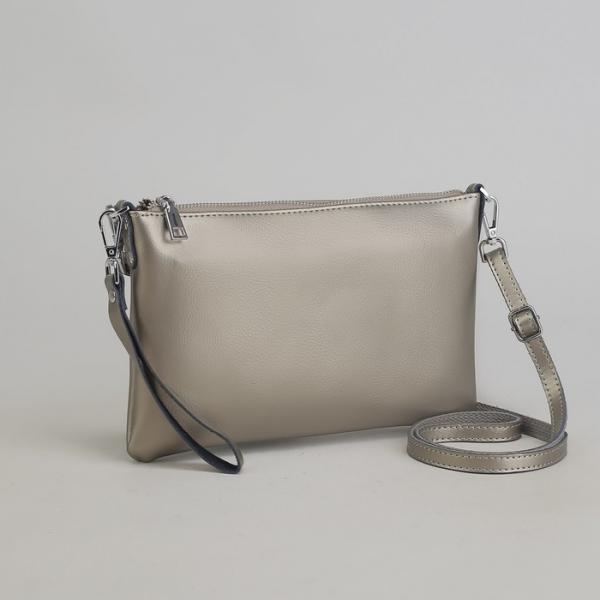 Клатч женский на молнии, отделение с перегородкой, наружный карман, с ручкой, длинный ремень, цвет серый