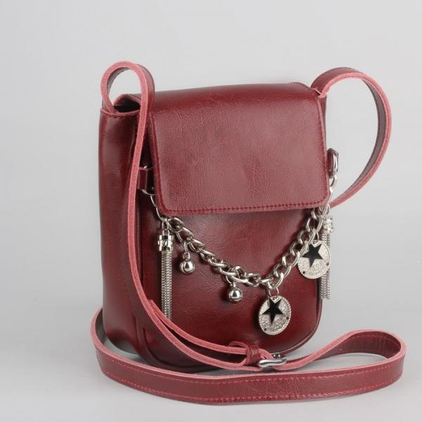 Сумка женская, отдел на молнии, наружный карман, длинный ремень, цвет бордовый