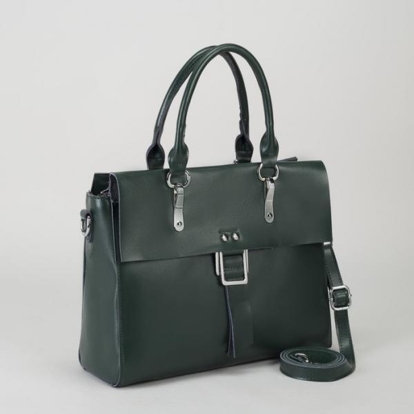 Сумка женская, отдел с перегородкой, наружный карман, длинный ремень, цвет зелёный