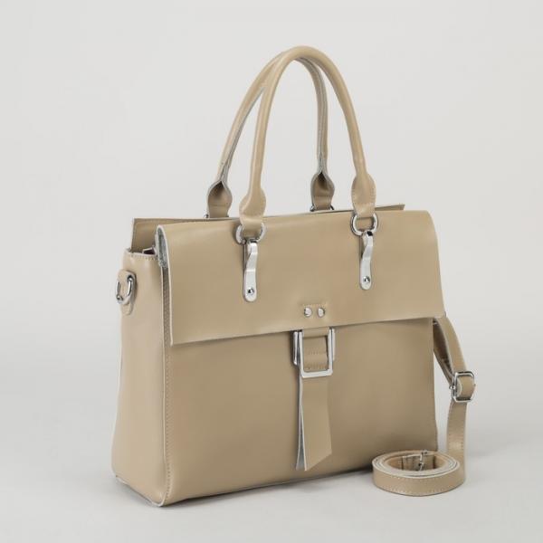 Сумка женская, отдел с перегородкой, наружный карман, длинный ремень, цвет хаки
