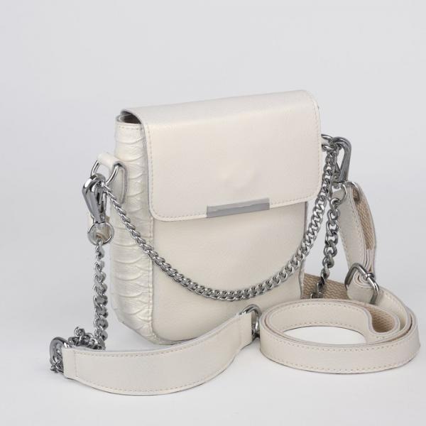 Сумка женская, отдел с перегородкой, наружный карман, 2 цепи, длинный ремень, цвет белый перламутровый