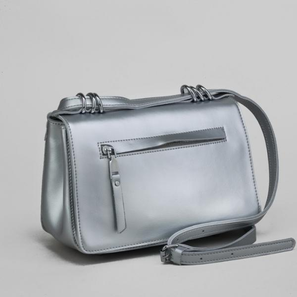 Сумка женская, отдел с перегородкой, наружный карман, длинный ремень, цвет серебристый