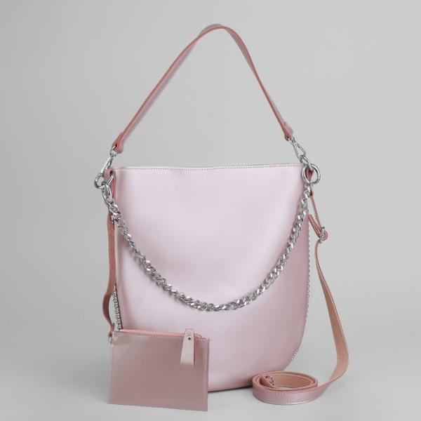 Сумка женская, отдел с перегородкой, с кошельком, цвет розовый перламутровый