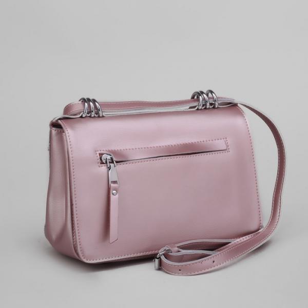 Сумка женская, отдел с перегородкой, наружный карман, длинный ремень, цвет розовый перламутровый