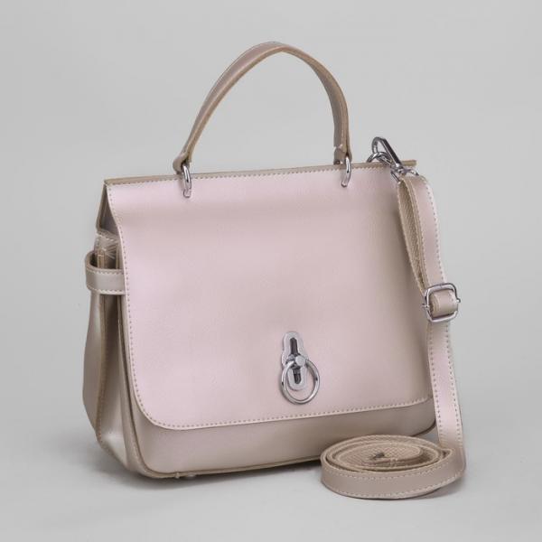 Сумка женская, отдел на молнии, наружный карман, длинный ремень, цвет розовый перламутровый
