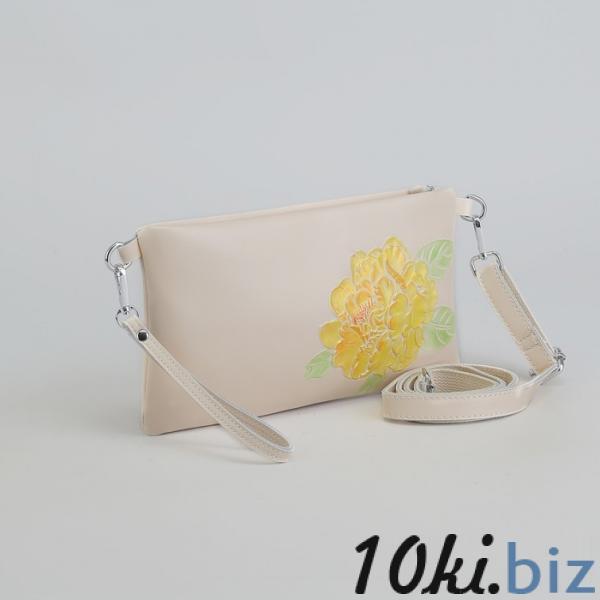 Клатч женский, отдел на молнии, наружный карман, с ручкой, длинный ремень, цвет молочный купить в Гродно - Женские сумочки и клатчи