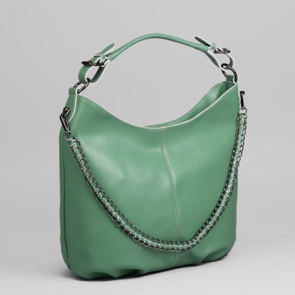 Сумка женская, отдел с перегородкой на молнии, наружный карман, цвет зелёный