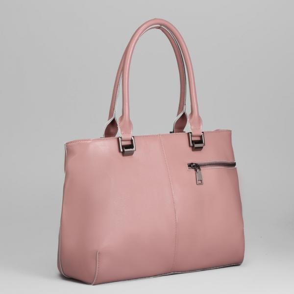 Сумка женская, 3 отдела на молнии, 2 наружных кармана, цвет розовый