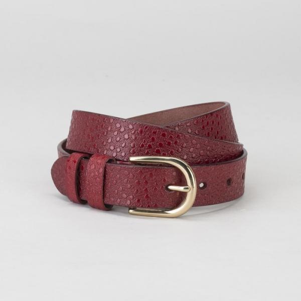 Ремень женский, пряжка золото, ширина - 2,5 см, цвет бордовый
