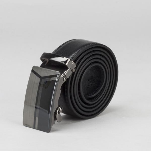 Ремень мужской, гладкий, пряжка автомат, ширина - 4 см, цвет чёрный