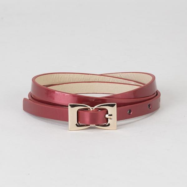 Ремень женский, гладкий лак, пряжка и хомут золото, ширина - 0,8 см, цвет бордовый