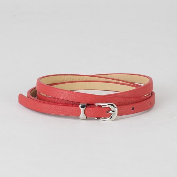 Ремень женский, гладкий лак, пряжка и хомут металл, ширина - 0,8 см, цвет красный