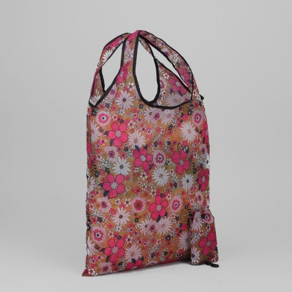 Сумка хозяйственная складная «Цветы», отдел без молнии, цвет коричневый/розовый