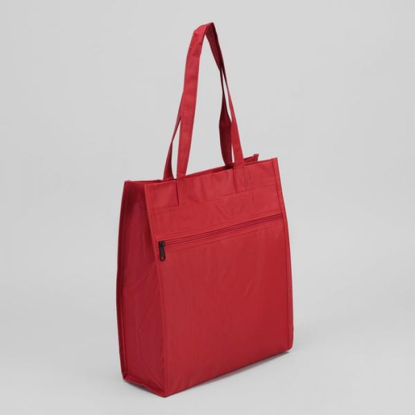 Сумка хозяйственная, отдел на липучке, наружный карман, цвет красный