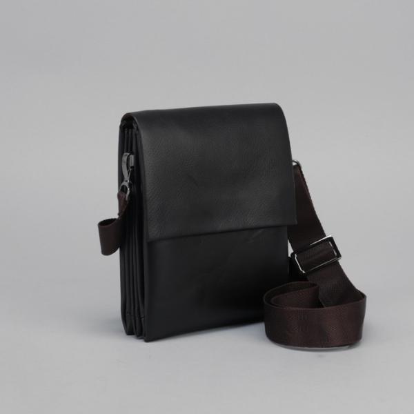 Планшет мужской, 3 отдела на молнии, наружный карман, длинный ремень, цвет коричневый
