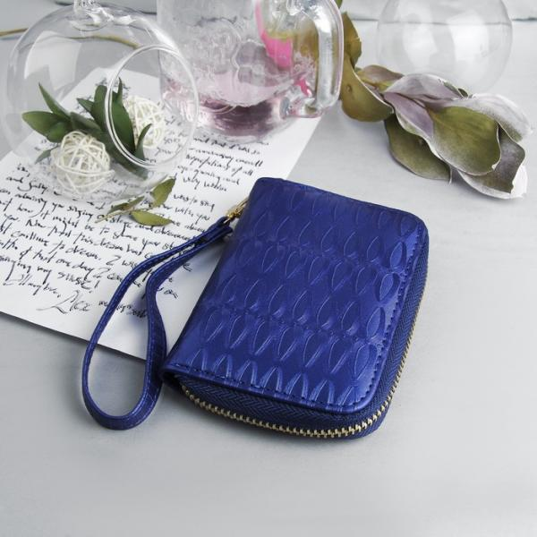 Кошелёк женский, 2 отдела на молнии, с ручкой, цвет синий