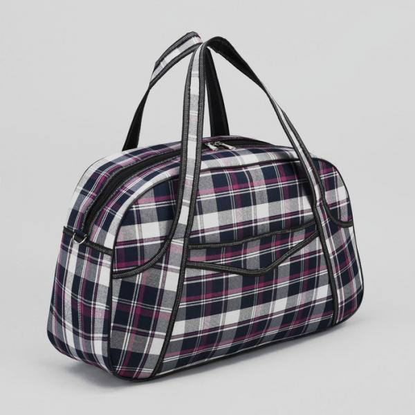Сумка дорожная, отдел на молнии, наружный карман, длинный ремень, цвет синий/фиолетовый