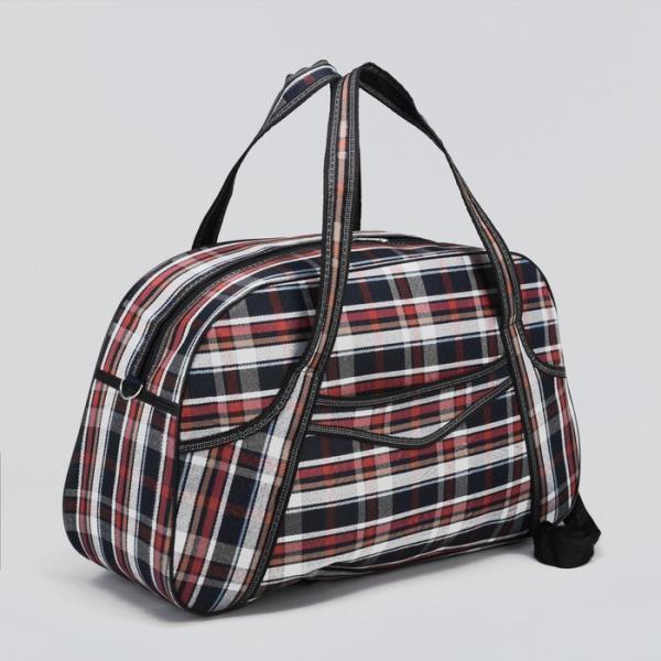 Сумка дорожная, отдел на молнии, наружный карман, длинный ремень, цвет синий/коричневый