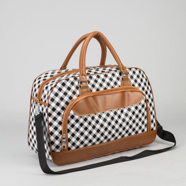 Сумка дорожная, отдел на молнии, наружный карман, длинный ремень, цвет коричневый/белый