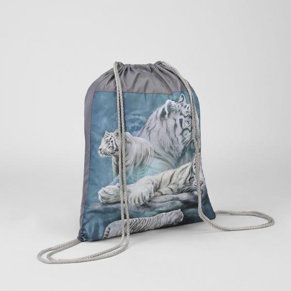 """Мешок для обуви """"Белые тигры """", отдел на шнурке"""