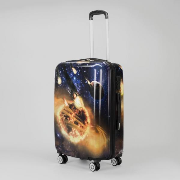 """Чемодан средний «Космос» 24"""", отдел на молнии, кодовый замок, 4 колеса, цвет синий"""